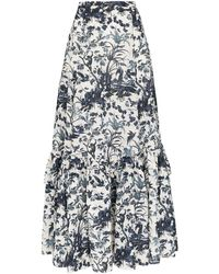 Erdem Althea Tiered Floral-print Skirt - White