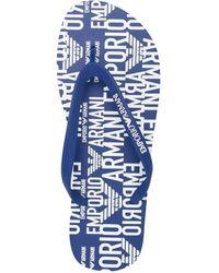 Emporio Armani ロゴ フラットサンダル - ブルー