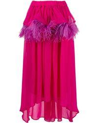 Christian Pellizzari Asymmetric Feather-trim Silk Skirt - Pink