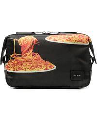 Paul Smith Neceser con motivo Spaghetti - Negro