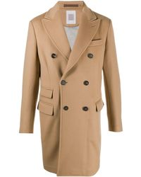 Eleventy Double-breasted Button Up Coat - Brown