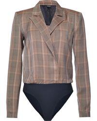 Pinko Check Print Blazer Bodysuit - Multicolour