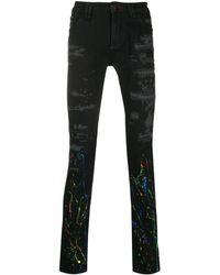 Philipp Plein Distressed Paint Print Jeans - Black