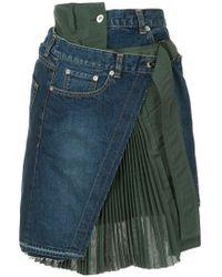 Sacai レイヤード スカート - ブルー