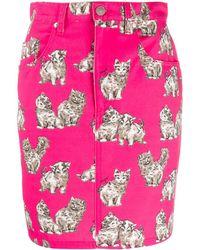 MSGM Cat Print Denim Skirt - Pink