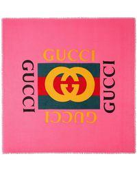 Gucci Logo Modal Silk Shawl - Pink