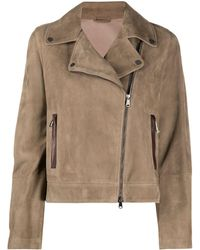 Brunello Cucinelli Байкерская Куртка На Молнии - Коричневый