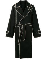 Doublet Contrast-stitch Belted Midi Coat - Black