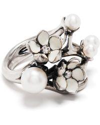 Shaun Leane Bague Cherry Blossom ornée de diamants - Métallisé