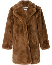 Apparis Sasha Oversized Faux-fur Coat - Brown
