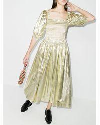 Molly Goddard Camilla シャーリング ドレス - メタリック