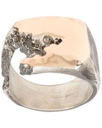 Tobias Wistisen Ring Met Barst Aan De Zijkant - Metallic