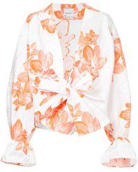 Bambah Camisa estilo kimono con motivo floral - Blanco
