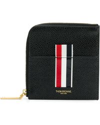Thom Browne Vertical Intarsia Stripe Zip-around Wallet In Pebble Grain Leather - Nero
