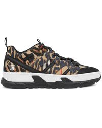 Burberry Leopard Print Union Sneakers - Brown
