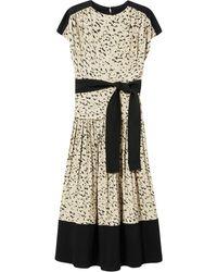 Proenza Schouler Vestido de manga corta con estampado de leopardo - Verde