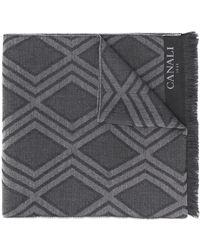 Canali ダイヤモンドパターン スカーフ - グレー