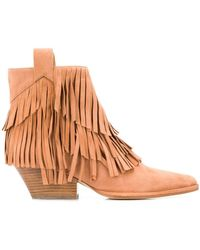 Sergio Rossi Carla Fringed Ankle Boots - Brown