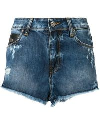 John Richmond - Rich Print Frayed Edges Denim Shorts - Lyst