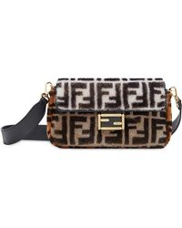4bdb84b898c0 Lyst - Fendi Embroidered Baguette Tote in Metallic