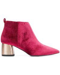 Pollini - Embellished Chunky Heel Boots - Lyst