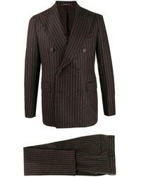 Tagliatore Striped Two-piece Suit - Brown