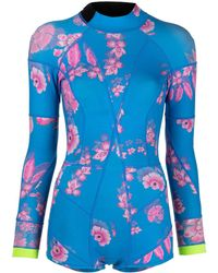 Cynthia Rowley Jacket フローラル ウェットスーツ - ブルー