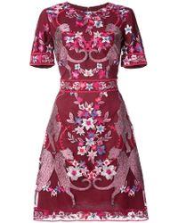 Marchesa notte - Floral Short Sleeve Cocktail Dress - Lyst