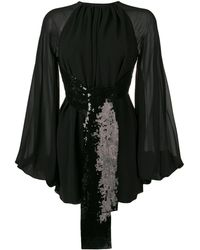 Saint Laurent Sequin Embroidered Dress - Black