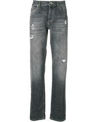 Brunello Cucinelli Distressed straight leg jeans - Gris