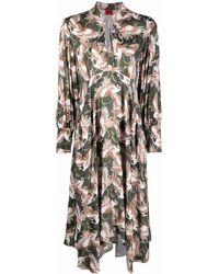 HUGO Платье Миди С Принтом - Зеленый