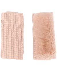 Yves Salomon Knitted Fingerless Gloves - Pink