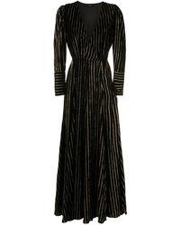 EVA ストライプ ロングドレス - ブラック