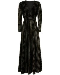 EVA Robe longue à rayures - Noir