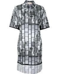 PORTSPURE プリント シャツドレス - ブラック