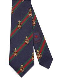 Gucci - Web Crest Silk Tie - Lyst