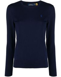 Polo Ralph Lauren Embroidered Polo Pony Sweater - Blue