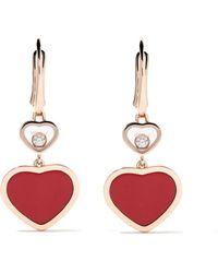 Chopard 18kt Rose Goud Happy Hearts Diamant Druppel Oorbellen - Meerkleurig