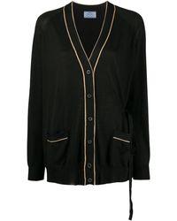 Prada Abrigo estilo cárdigan con cinturón y ribetes en contraste - Negro