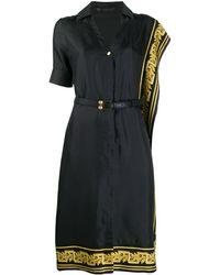 Versace Декорированное Платье-рубашка Greek Key - Черный