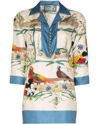 Gucci Пижамная Рубашка С Цветочным Принтом Из Коллаборации С Disney Mickey - Белый