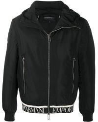 Emporio Armani ロゴテープ フーデッドジャケット - ブラック
