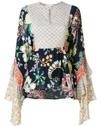 Perseverance London - Flared Floral Print Blouse - Lyst