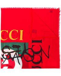 Gucci Coco Capitán Logo Shawl - Red