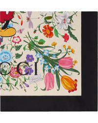 Gucci X Disney Floral Print Bandana Scarf - White