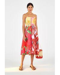 FARM Rio Mixed Garden Linen Midi Dress, / Xs - Red