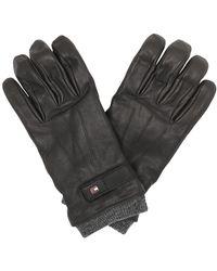 Tommy Hilfiger Elevated Flag Leather Mix Gloves Black - Noir