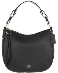 COACH Polished Pebble Leather Sutton Hobo Bag Black - Noir