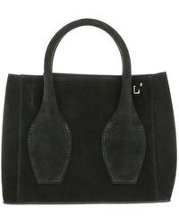 L'Autre Chose Mini Tote Bag Calf Suede - Black