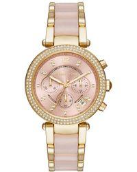 Michael Kors - Parker Pavé Gold-tone Rose Acetate Watch - Lyst